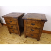 Pair of  fruitwood 3 drawer bedside cabinets