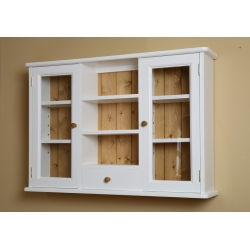 Painted pine 2 door glazed wall cabinet. W98cm.