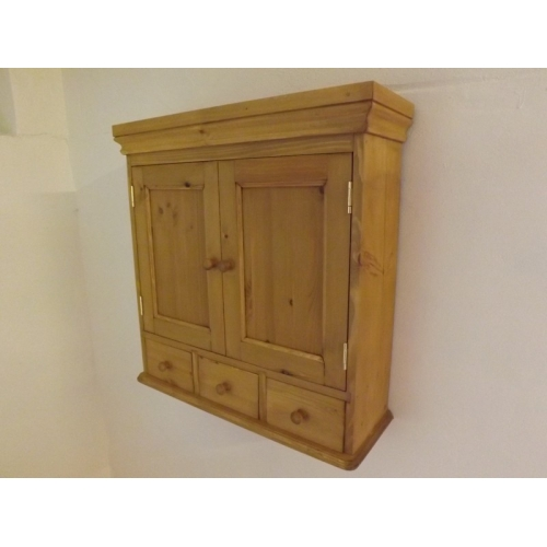 Pine 2 Door Wall Cabinet With 3 Spice Drawers 65cm Width