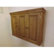 Pine 3 door wall cabinet. W100cm.
