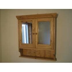 pine 2 door mirrored bathroom cabinet w65cm