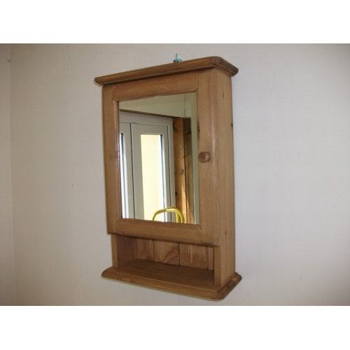 Pine, Mirrored, Bathroom Cabinet. W37cm