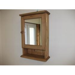 pine mirrored bathroom cabinet w37cm