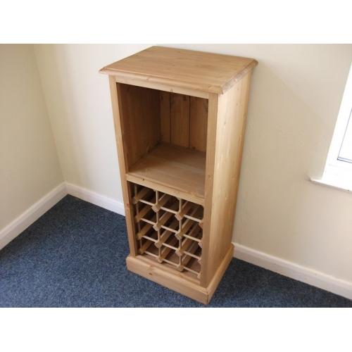 Pine wine rack with bookcase.