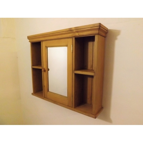 Pine Mirrored Bathroom Cabinet. W75cm