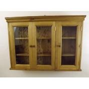 Pine 3 door , glazed, wall cabinet. W100cm.